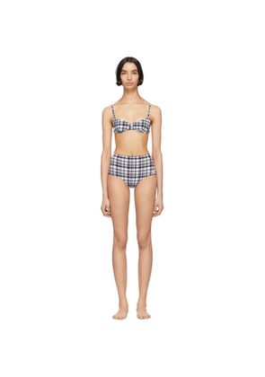 Solid and Striped White and Navy The Ginger Puckered Madras Bikini Set