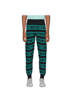 Kenzo Black and Blue All-Over Logo Lounge Pants