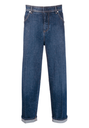 Neil Barrett turn-up straight-leg jeans - Blue