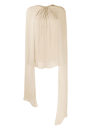 Prada twisted-detail draped blouse - NEUTRALS