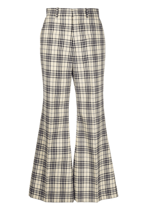 Gucci tweed check flared trousers - NEUTRALS