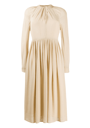 Prada tie-back gathered midi-dress - NEUTRALS