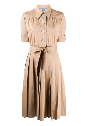 Prada pleated shirt dress - NEUTRALS