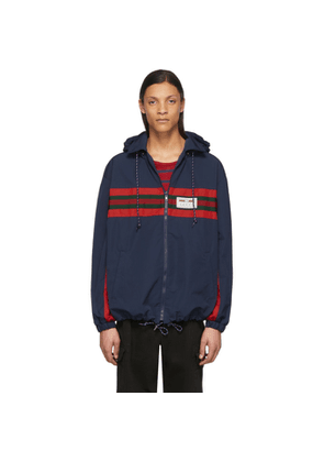 Gucci Navy and Red Technical Waterproof Jacket