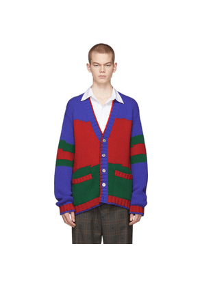 Gucci Blue and Green Oversized Striped Cardigan