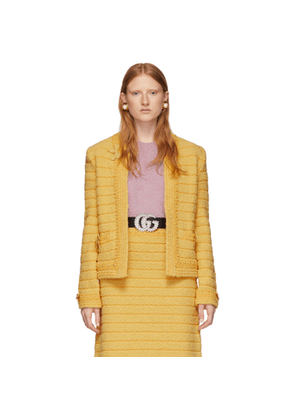 Gucci Yellow Wool Bow Fringes Jacket