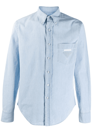 Prada logo patch denim shirt - Blue
