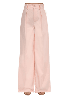Cotton Blend Straight Leg Pants