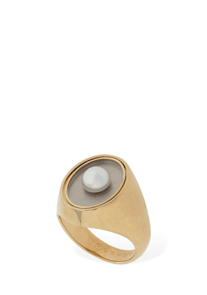 Twisted Thick Ring W/ Imitation Pearl
