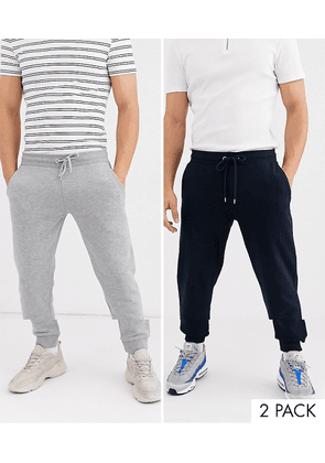 ASOS DESIGN tapered joggers 2 pack in grey marl/navy-Multi
