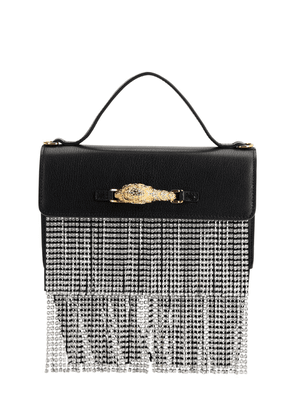 Leather & Crystal Top Handle Bag