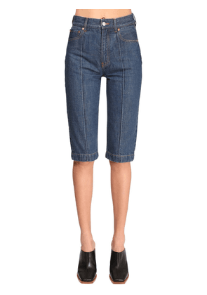 Cotton Denim Bermuda Jeans