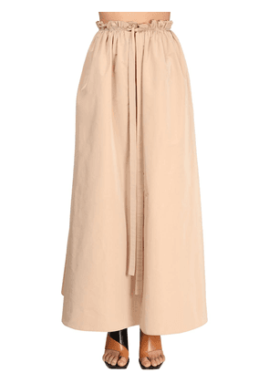 Cotton Blend Taffeta Maxi Skirt
