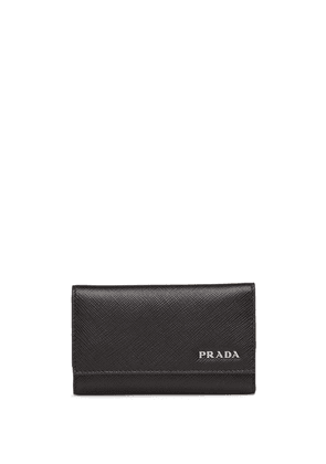 Prada logo embossed key case - Black