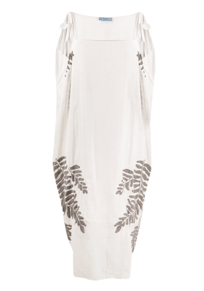 Prada floral embroidery midi dress - NEUTRALS