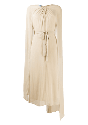 Prada twisted-detail draped midi dress - NEUTRALS