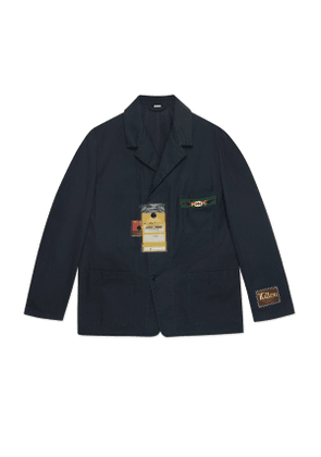 Cotton jacket with cardboard labels