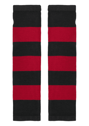 6397 striped fingerless gloves - Red