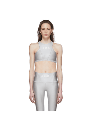 MSGM Grey Logo Sports Bra
