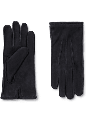 Loro Piana - Damon Baby Cashmere-Lined Suede Gloves - Men - Blue
