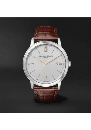 Baume & Mercier - Classima Quartz 42mm Stainless Steel and Croc-Effect Leather Watch - Men - White