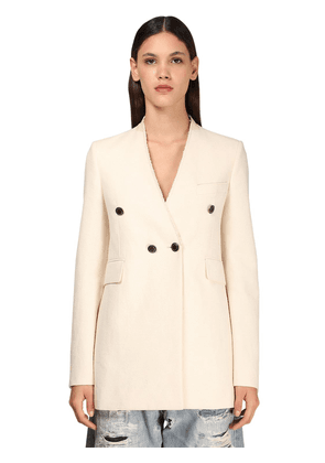 Cotton Blend Double Breasted Jacket