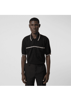 Burberry Logo Embroidered Wool Polo Shirt, Black