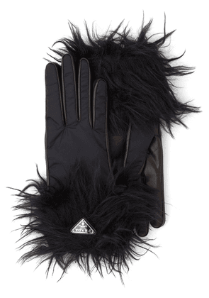 Prada textured trim gloves - Black