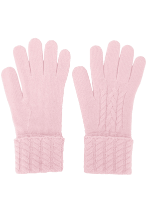 N.Peal cable knit cashmere gloves - PINK