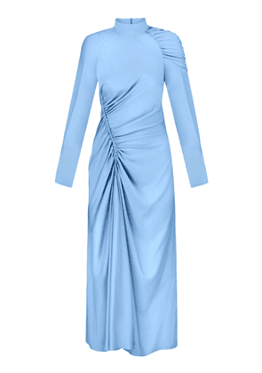 Anna October Ruched Crepe Long Sleeve Midi Dress