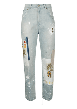 Monse denim patchwork straight leg jeans - Blue