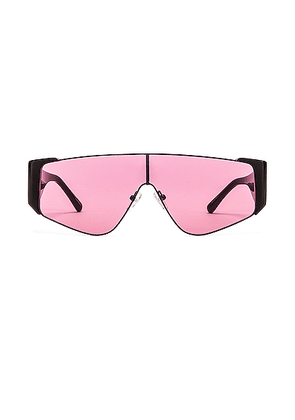ATTICO Shield Sunglasses in Black & Pink - Black,Pink. Size all.
