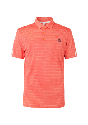 Adidas Golf - Striped Tech-jersey Golf Polo Shirt - Orange