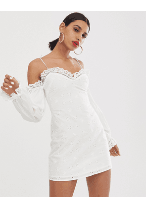 For Love & Lemons Vera broderie anglaise mini dress with cold shoulder-White