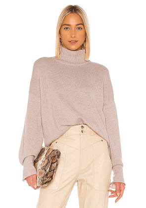 Autumn Cashmere Boxy Mock Neck Sweater in Pink. Size M.