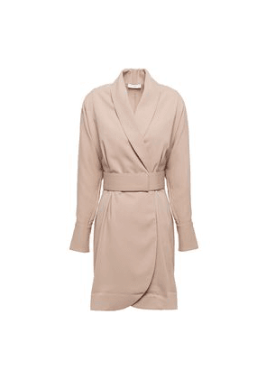 Equipment Corben Belted Stretch-crepe Mini Wrap Dress Woman Sand Size XS