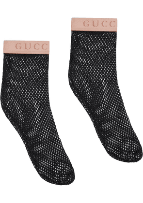 Gucci logo fishnet socks - Black