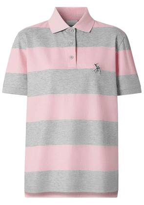 Burberry Deer motif striped polo shirt - PINK