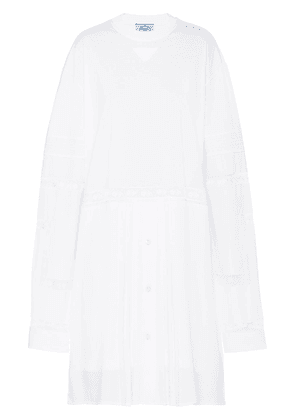 Prada Jersey and crepe de chine dress - White