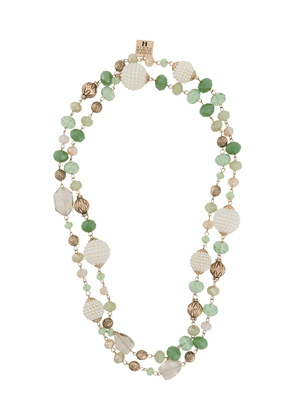 Edward Achour Paris layered beaded chain necklace - Green