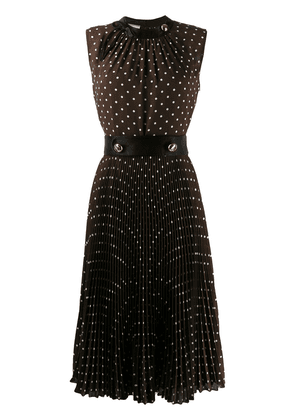 Prada polka dot pleated dress - Brown