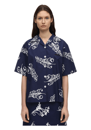 Printed Cotton Poplin Bowling Shirt