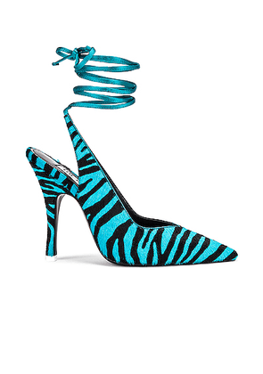 ATTICO Zebra High Heel Slingback in Black & Electric Blue - Blue,Animal Print. Size 36 (also in 40,41).