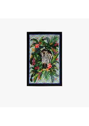 Dolce & Gabbana Womens Green Multicoloured Zebra And Plant Print Beach Towel