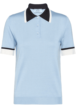 Prada contrast-collar silk polo shirt - Blue