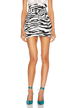 ATTICO Zebra Print Mini Skirt in White & Black - Black,Animal Print. Size 42 (also in 36,38,44).