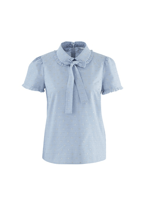 Short-sleeved shirt with ribbon tie