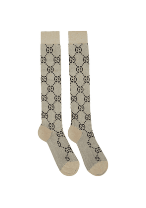 Gucci Off-White Lame GG Socks