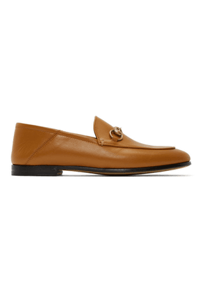 Gucci Tan Strawberry Brixton Loafers