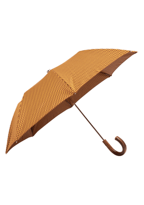 Yellow and Brown Houndstooth and Wood Folding Umbrella